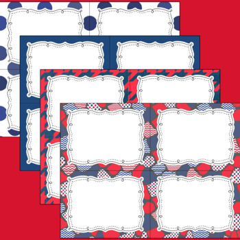 10 Editable Task Card Templates Patriotic Red White Blue (Landscape) PowerPoint