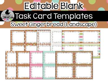 10 Editable Task Card Templates Sweet Gingerbread (Landscape) PowerPoint