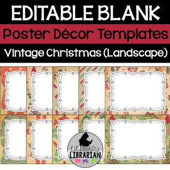 10 Editable Vintage Christmas Decor Poster Templates (Landscape) PPT