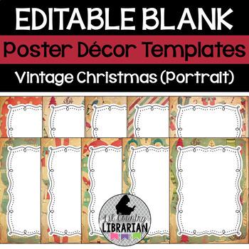 10 Editable Vintage Christmas Decor Poster Templates (Portrait) PPT