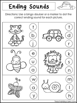 10 Ending Sounds Worksheets. Preschool and Kindergarten Literacy ...
