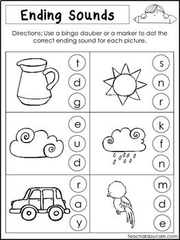 10 Ending Sounds Worksheets. Preschool and Kindergarten Literacy Worksheets.