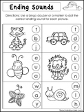 10 Ending Sounds Worksheets. Preschool and Kindergarten Li