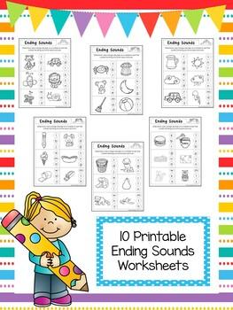 10 Ending Sounds Worksheets. Preschool and Kindergarten Li