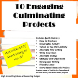 10 Engaging Culminating Projects Bundle, For Any Novel or Short Story - Word