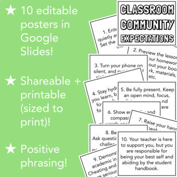 10 Essential Classroom Expectations Posters (Big Print, Positive Phrasing!)