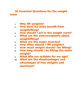 10 Essential Questions in weight room