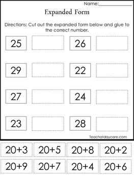 expanded form 1st grade worksheets  7 Expanded Form Place Value Worksheets. Kindergarten-7st grade.