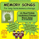 10 FRACTION VOCABULARY MEMORY SONGS FOR 3RD TO 5TH GRADE