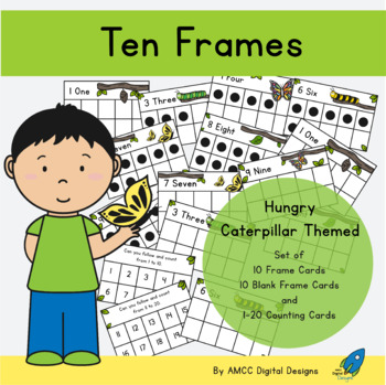 10 FRAMES and NUMBER CARDS caterpillar themed
