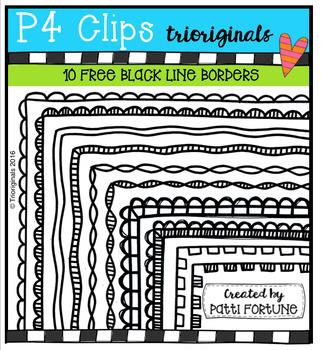 10 FREE Black Line Borders (P4 Clips Trioriginals Digital