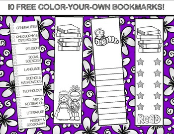 10 FREE Color-Your-Own Bookmarks!