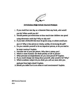 10 Fabulous High School Journal Prompts