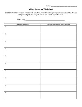 Video Response Worksheet: 10 Facts