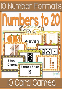 10 Fall/Autumn Card Games for Numbers to 20 with 10 Different Card Formats