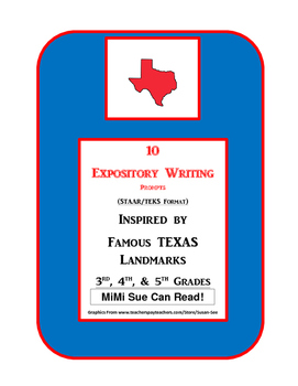 10 Famous Texas Landmarks Expository Writing Prompts STAAR 3rd 4th 5th
