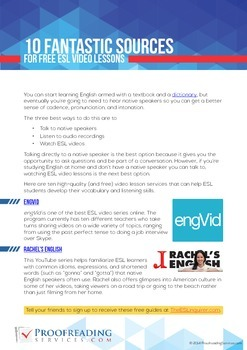 10 Fantastic Sources for Free ESL Video Lessons