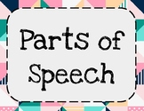 Parts of Speech Bulletin Board: Cute, Geometric Design