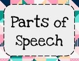 Parts of Speech Bulletin Board: Cute, Geometric Design