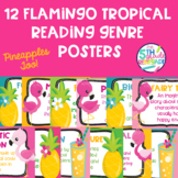 12 Flamingo Pineapple Tropical Themed Reading Genre Posters