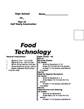 10 Food Exams, Food Service and Food for Special Occasions
