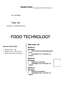 10 Food Technology Yearly Exam Nutrition