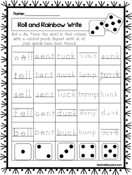 10 Four Letter Word Family Words Worksheets.  1st Grade Literacy Worksheets.