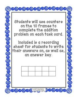 10 Frame Addition (1-9) Task Cards