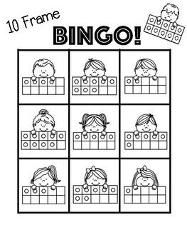 10 Frame Bingo Game + 2 [no prep] practice worksheets