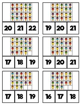 10 Frame Clip Cards: Ice Cream