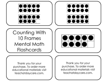10 Frame Counting printable Flashcards. Math flashcards.