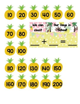 10 Frame ~ Counting the Days in School {Pineapples}