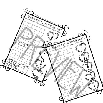 10 Frame Fill in the Blank Worksheets--Valentine\'s Day Themed | TpT