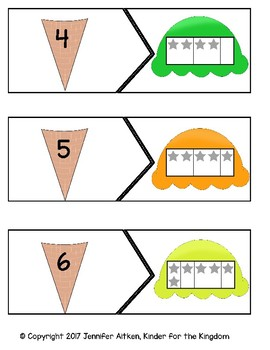 Ten Frame and Numbers Ice Cream Matching Puzzle 0-10
