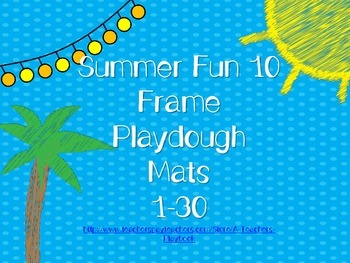 10 Frame Math Center Summer Theme Playdough (or other mani