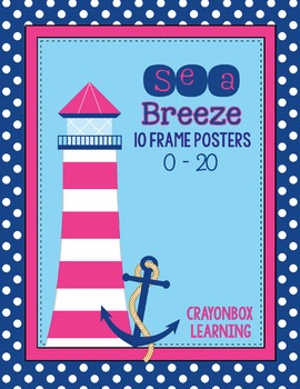 10 Frame Poster Set -  Sea Breeze - Nautical Ocean theme - Navy and Pink.   0-20