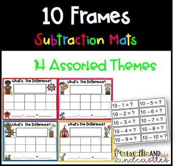 10 Frame Subtraction Mats, Assorted Themes