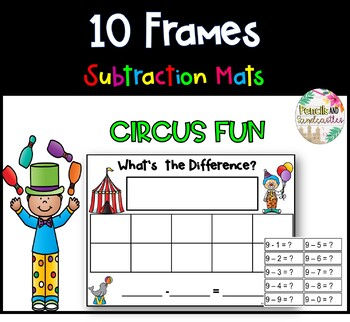 10 Frame Subtraction Mats (Circus Theme)