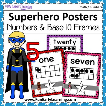 10 Frame Superhero Number Posters