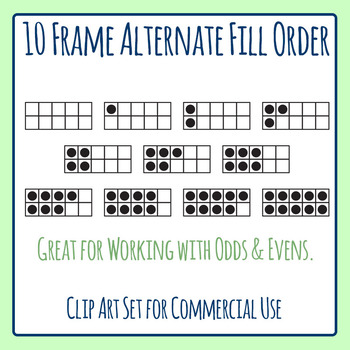 10 Frames Alternate Fill (Odds and Evens) Clip Art Set for Commercial Use