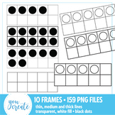 10 Frames Clip Art • 159 PNG Files • Transparent and White Fill