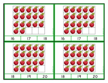 Ten Frames Clip Cards - Counting and Adding to 20 with Apples