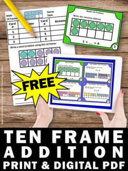 FREE 10 Frames for Kindergarten, 10 Frames Addition, 10 Frames 1st Grade Review