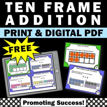 FREE 10 Frames Addition Task Cards Kindergarten Math Cente