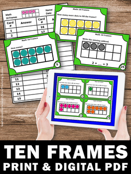 Ten Frames Task Cards, How Many to Make 10, Kindergarten Math Review