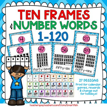 10 Frames and Numbers 1-100 (Arctic Blue/Pink Chevron)