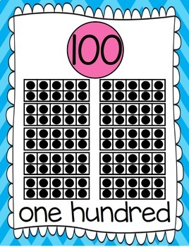 10 Frames and Number Word Posters 1-120 (Arctic Blue/Pink Chevron)