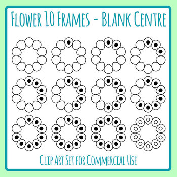 10 Frames with Blank Center / Ten Frame Flowers with Copy Space Math ...