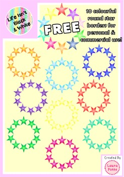10 Free Colorful Round Star Borders for Commercial & Perso