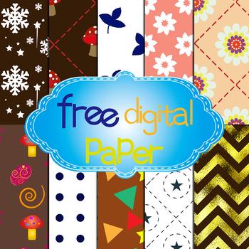 10 Free Digital Paper with Flower,Mushroom,Snowflake,Leaves